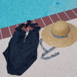 Bleu Rod Tie Back Ruffle Black One Piece Swimsuit